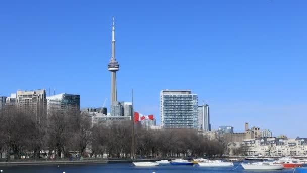 Timelapse z Toronto obzor přes přístav za slunečného dne 4k