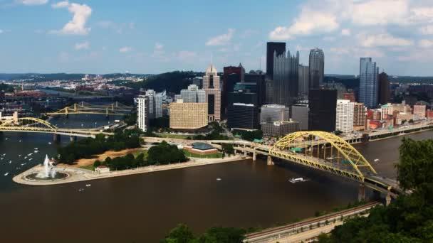 Timelapse leteckého centra města Pittsburgh 4k