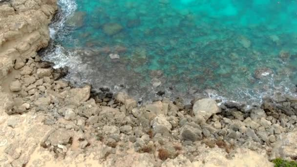 Aerial view. blue lagoon without people. top view. Cyprus