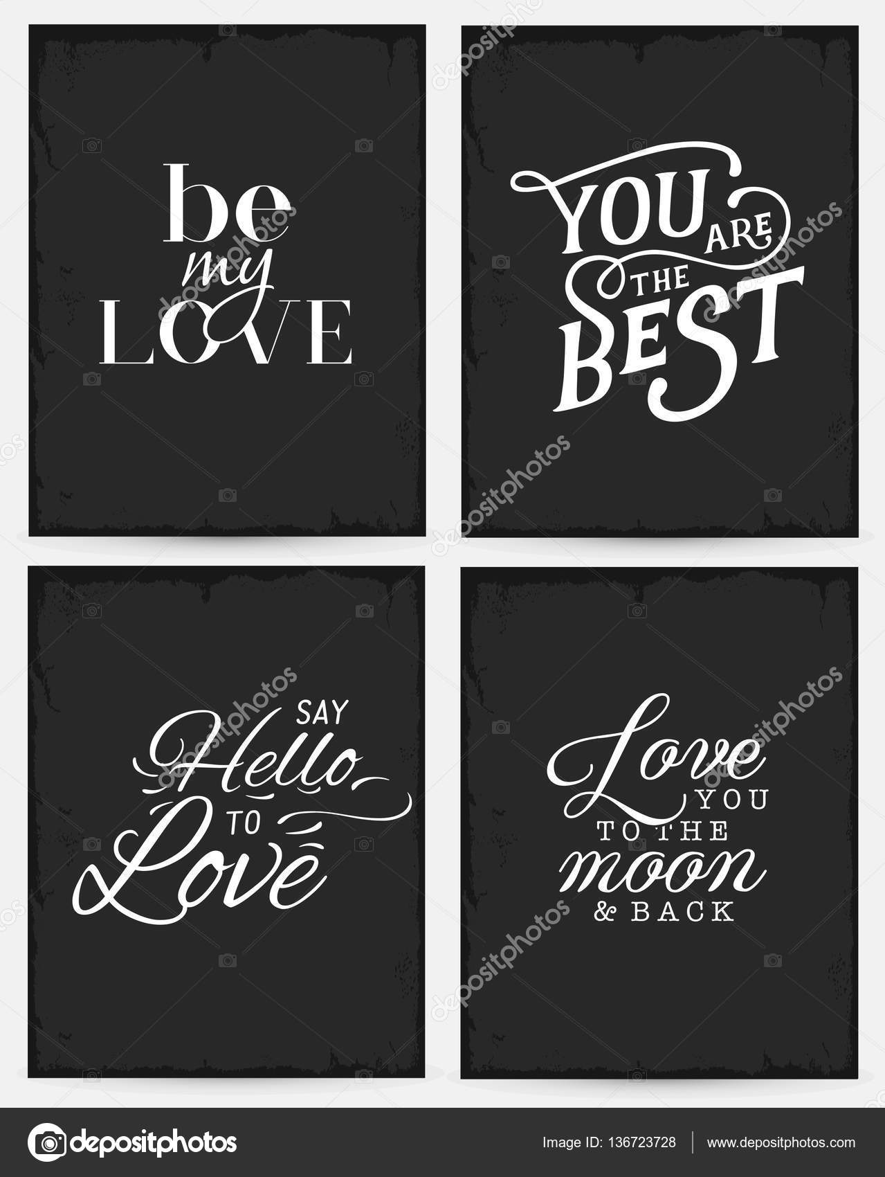 Valentines day minimal typography greeting cards set in vintage valentines day minimal typography greeting cards set in vintage style stock vector m4hsunfo