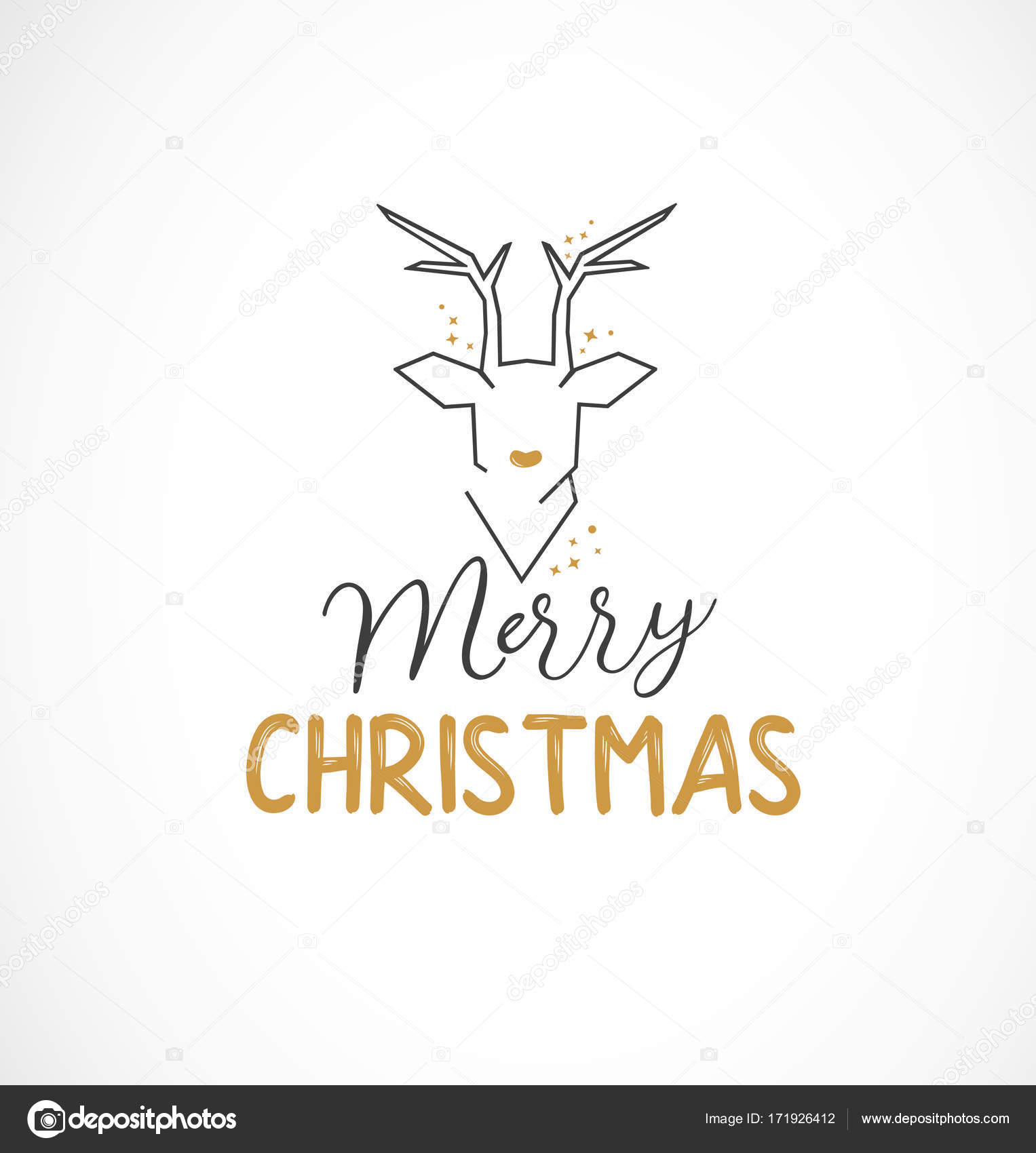 Calligraphic Christmas Greeting Card Design Element With Modern
