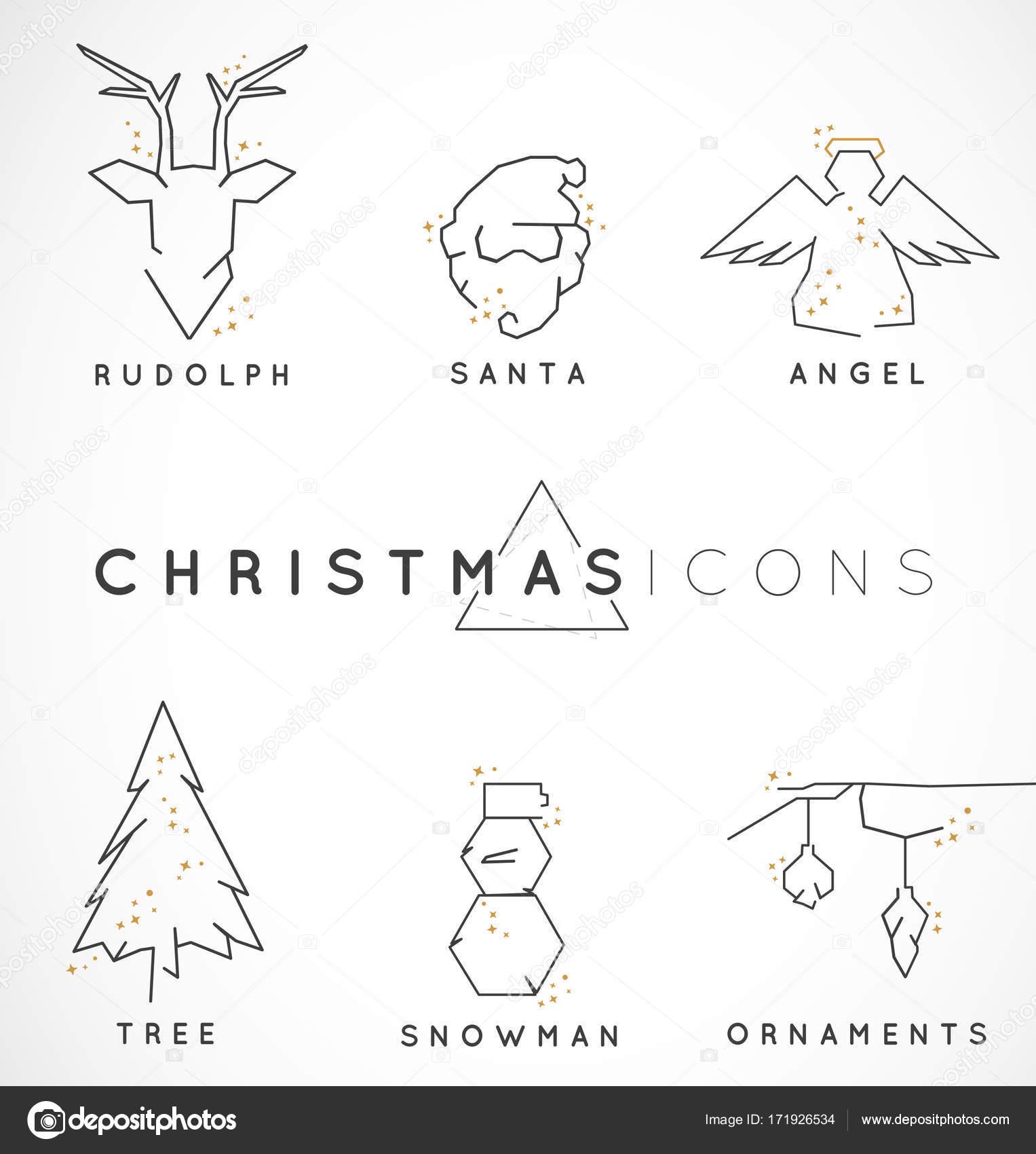 Colección de ilustraciones de Navidad de línea mínima con destellos ...
