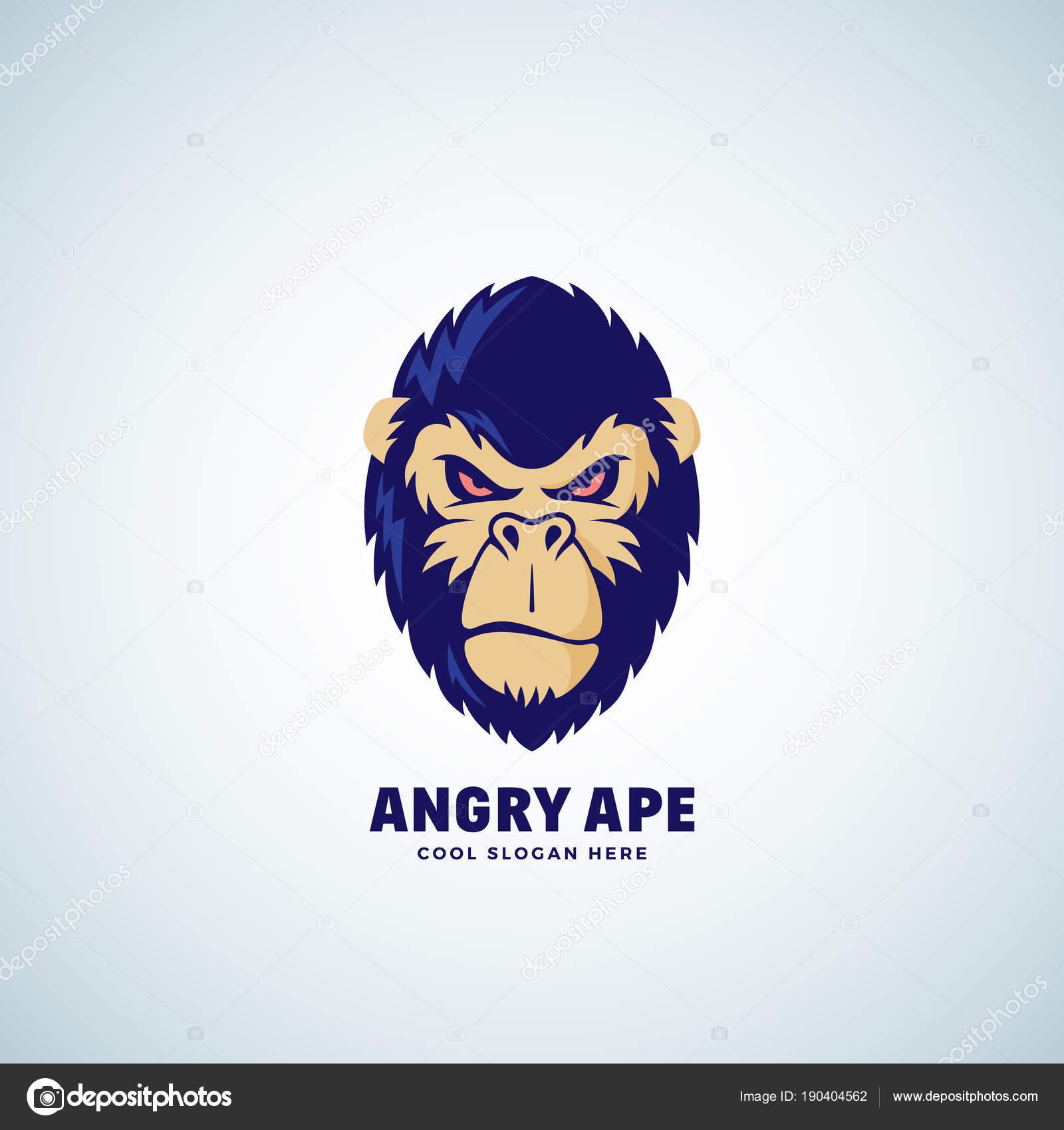 Wütend Ape Abstract Vector Zeichen, Emblem oder Logo-Vorlage. Affe ...