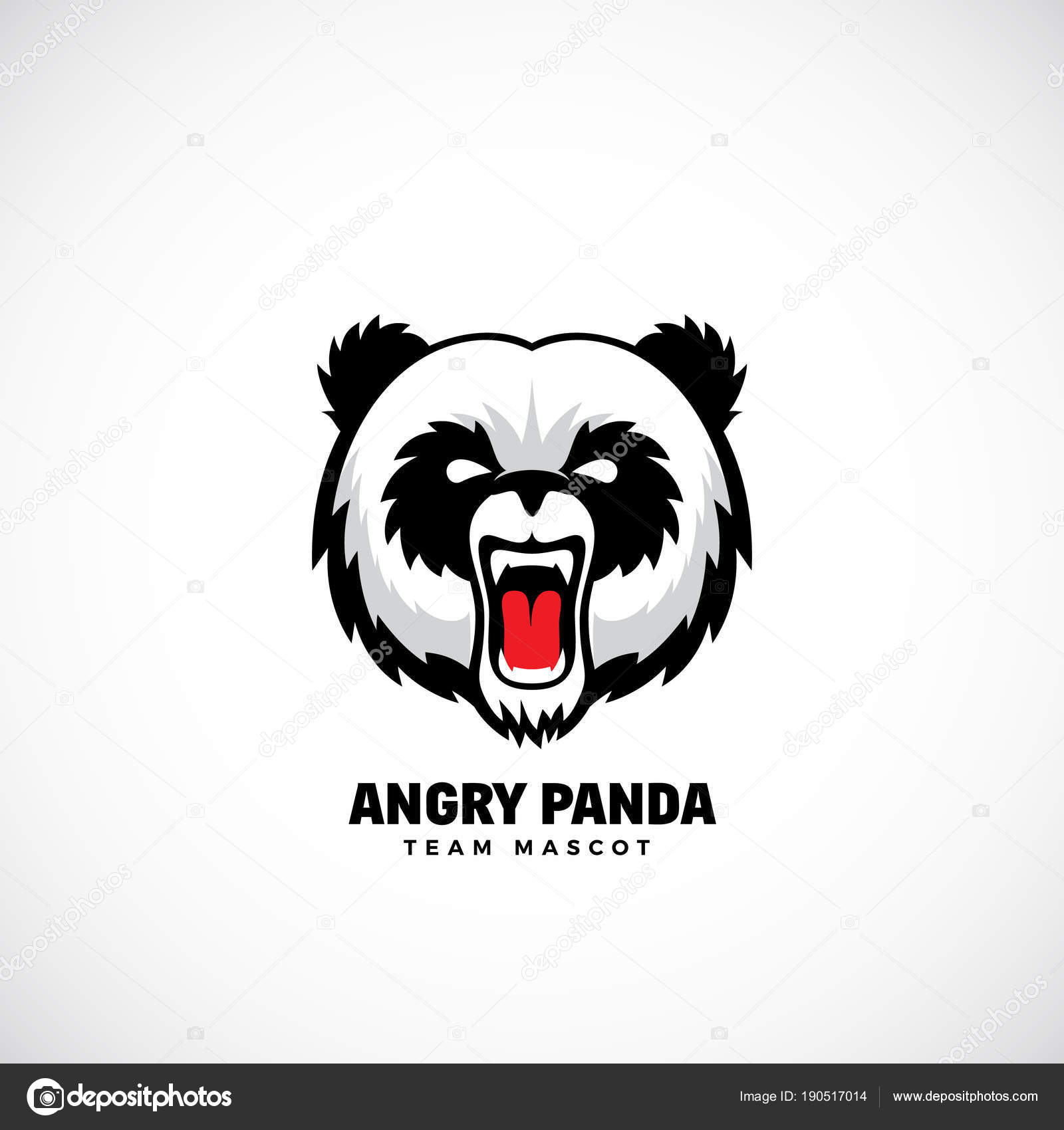 Angry Panda Abstract Vector Team Mascot, Label or Logo Template ...