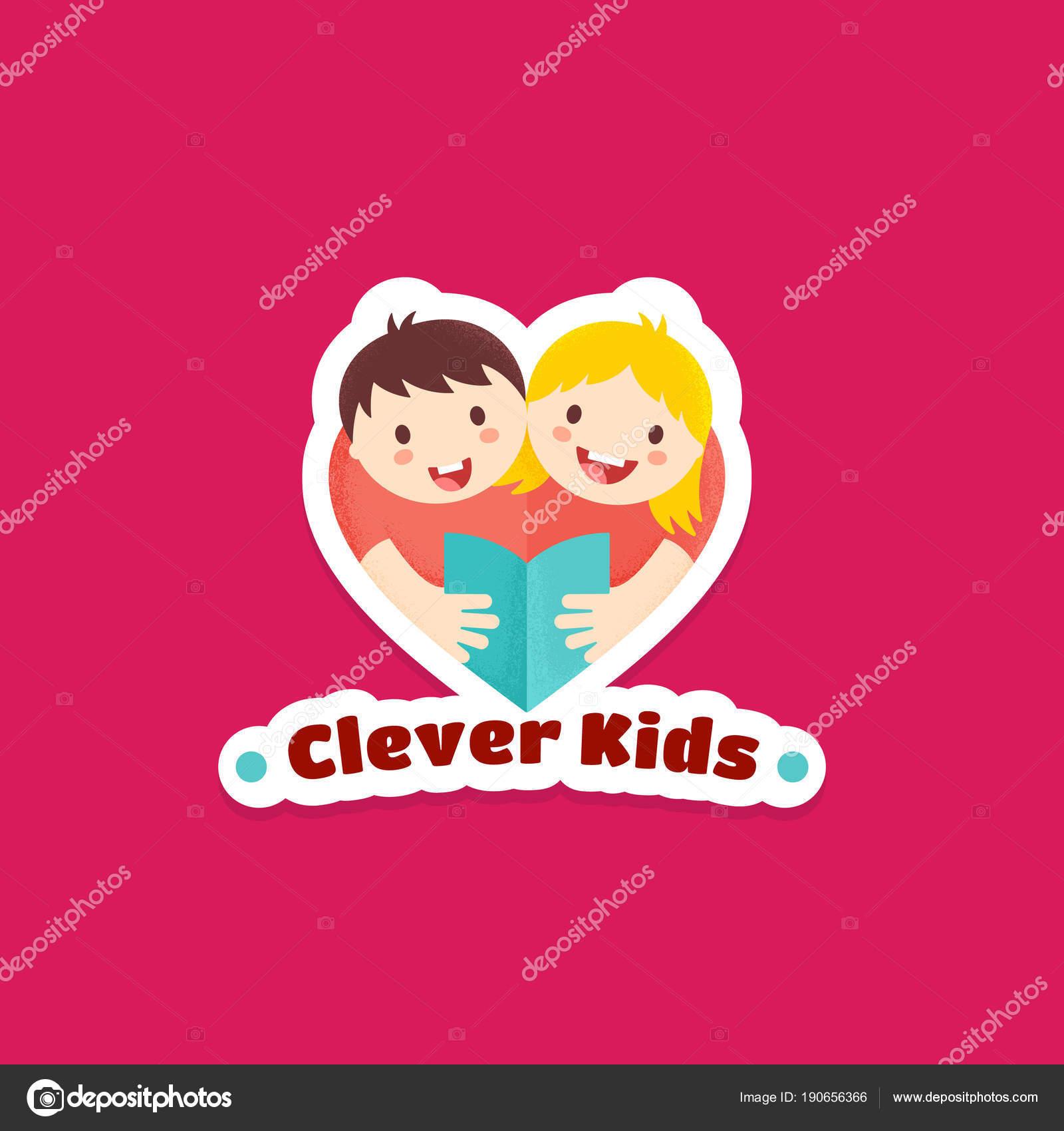 Niños inteligentes Resumen Vector de señal, emblema o logotipo ...