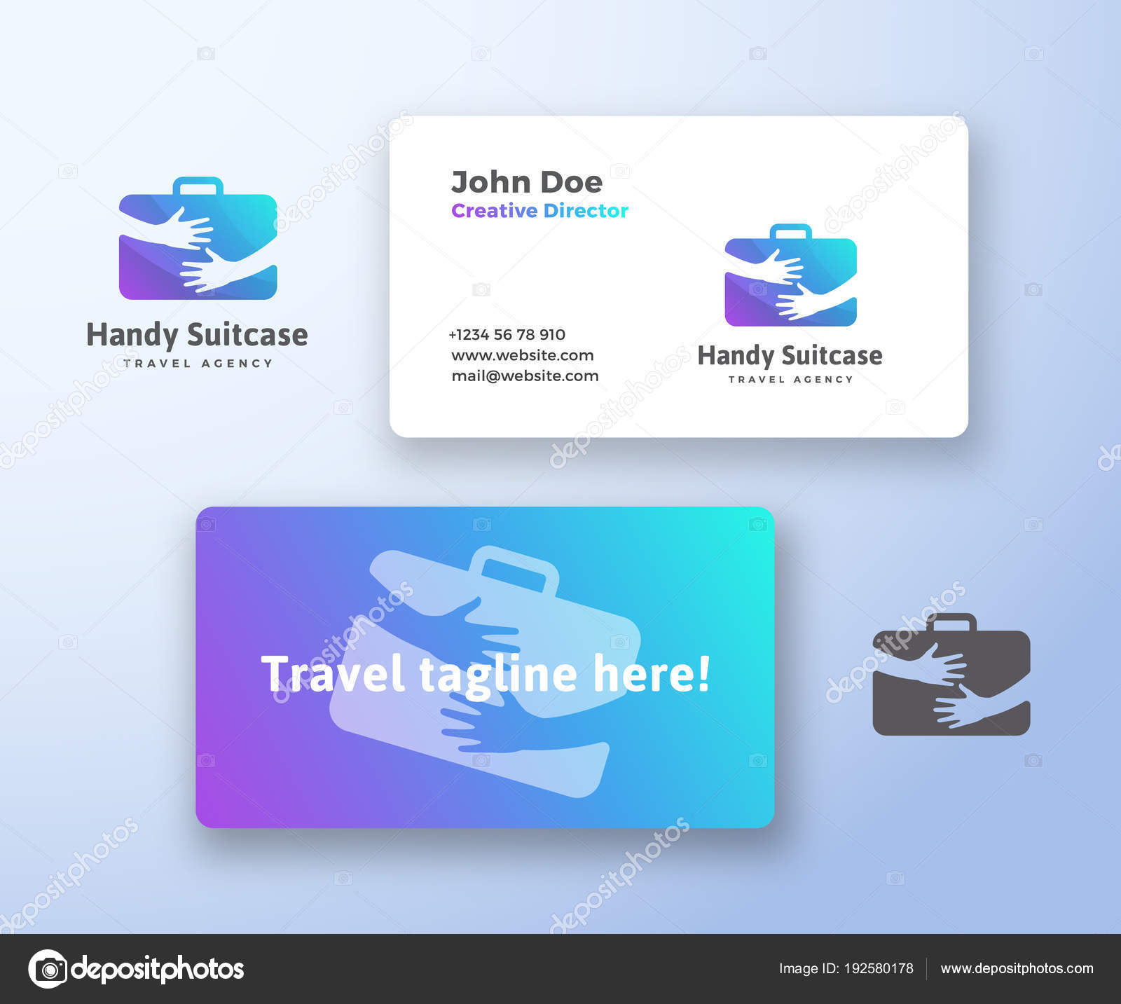 Handy Suitcase Travel Agency Abstract Vector Sign, Symbol or Logo ...
