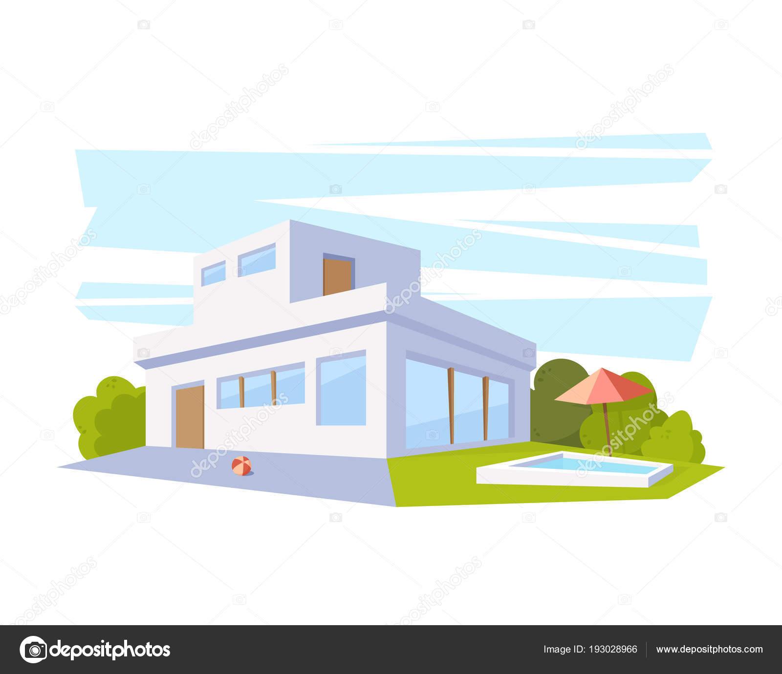 Maison Architecture moderne de Style plat avec piscine et la pelouse ...
