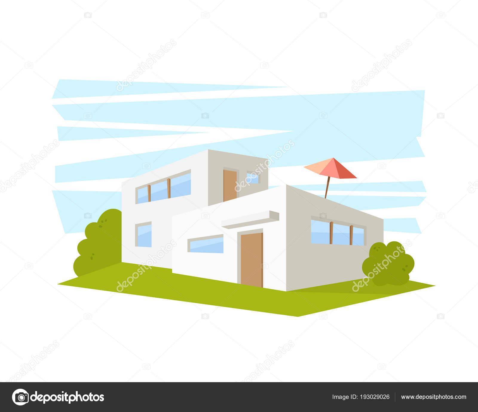 Maison Architecture Moderne De Style Plat Avec Pelouse Verte Dessin