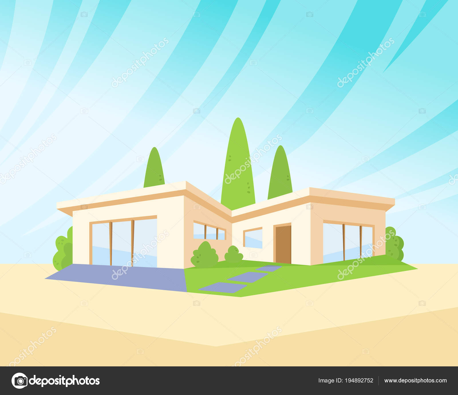 Maison d\'Architecture moderne Style plat avec pelouse et ...