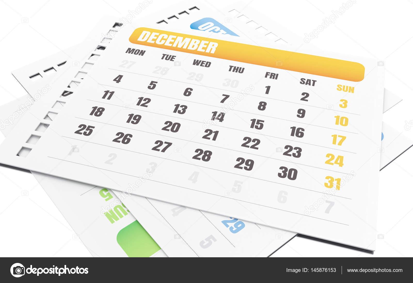 Calendario A Strappo.Calendario A Strappo Mese Dicembre 3d Foto Stock