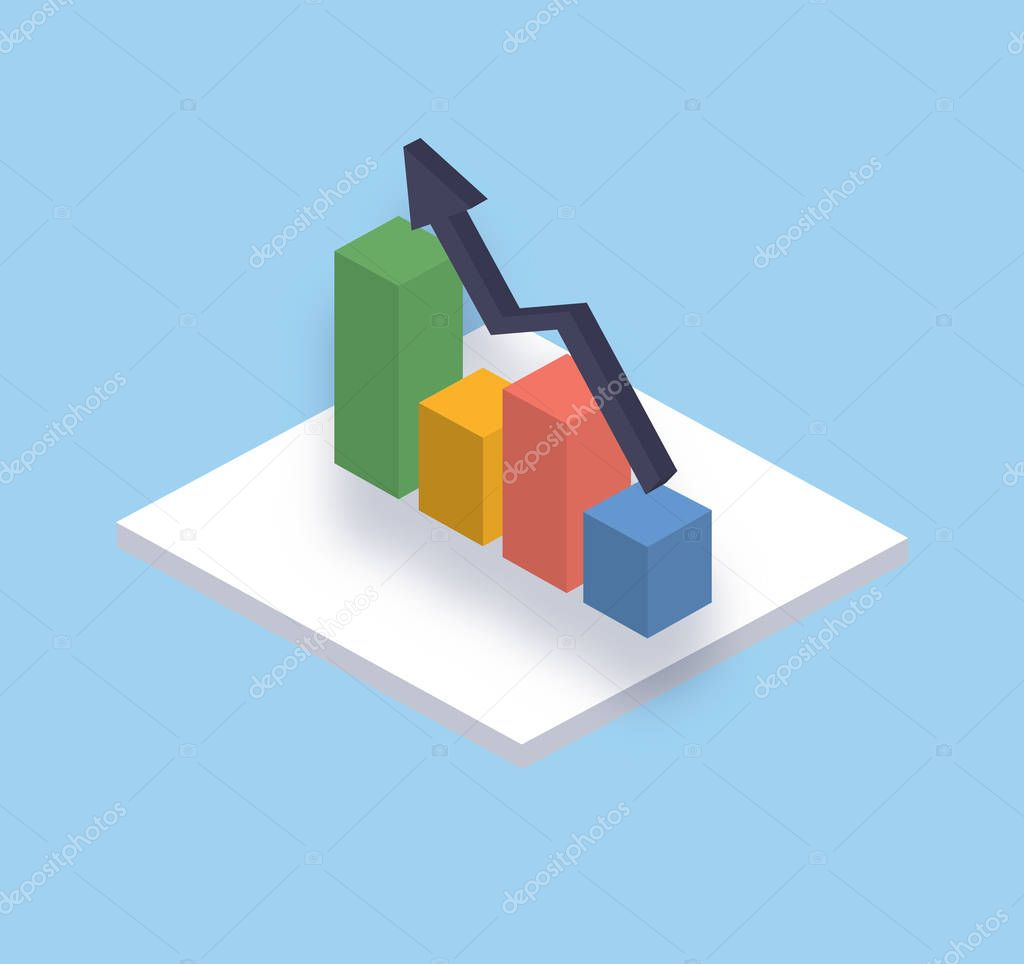 Vector illustration. Graphic chart of isometric flat icon