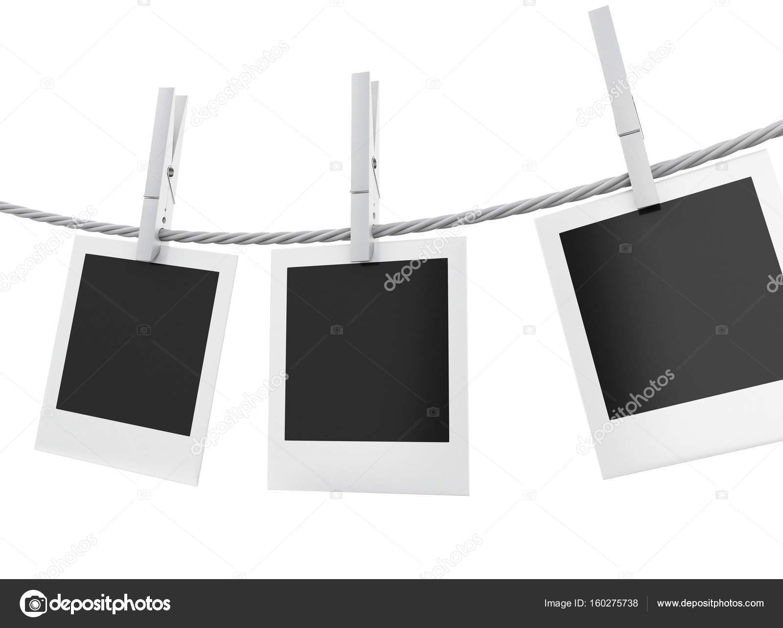 3d bilderrahmen aufh ngen auf der w scheleine stockfoto nicomenijes 160275738. Black Bedroom Furniture Sets. Home Design Ideas
