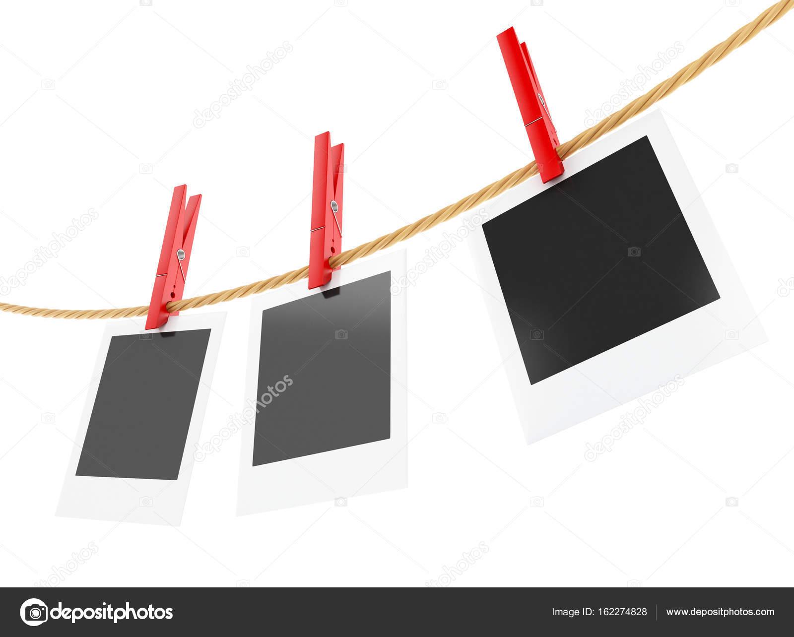 3D Bilderrahmen aufhängen auf der Wäscheleine — Stockfoto ...