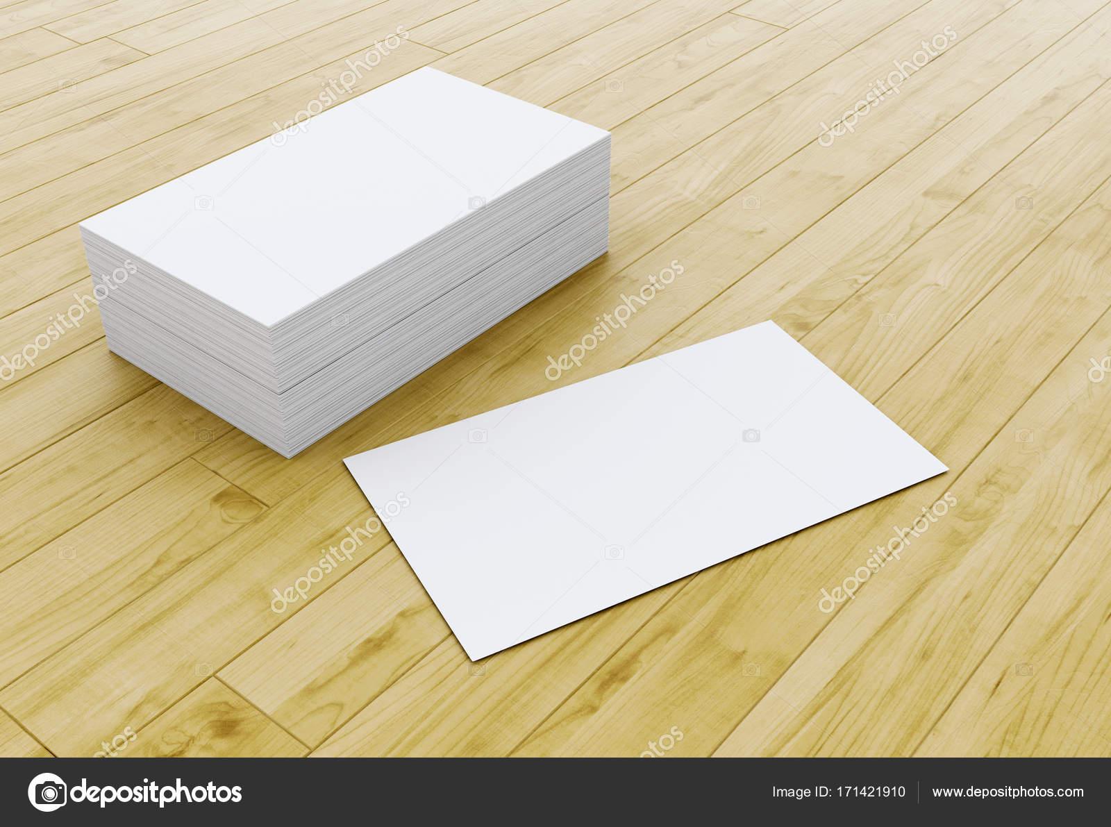 3d Stapel Leer Visitenkarten Auf Holztisch Stockfoto