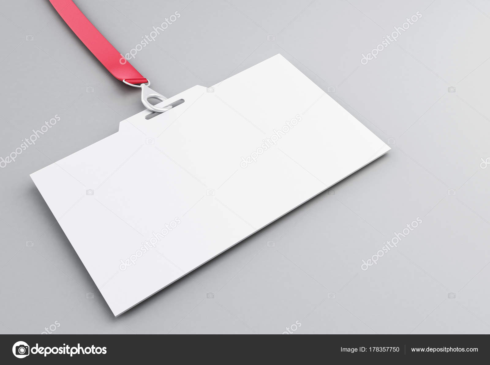 3d white blank plastic id badge with lanyard stock photo