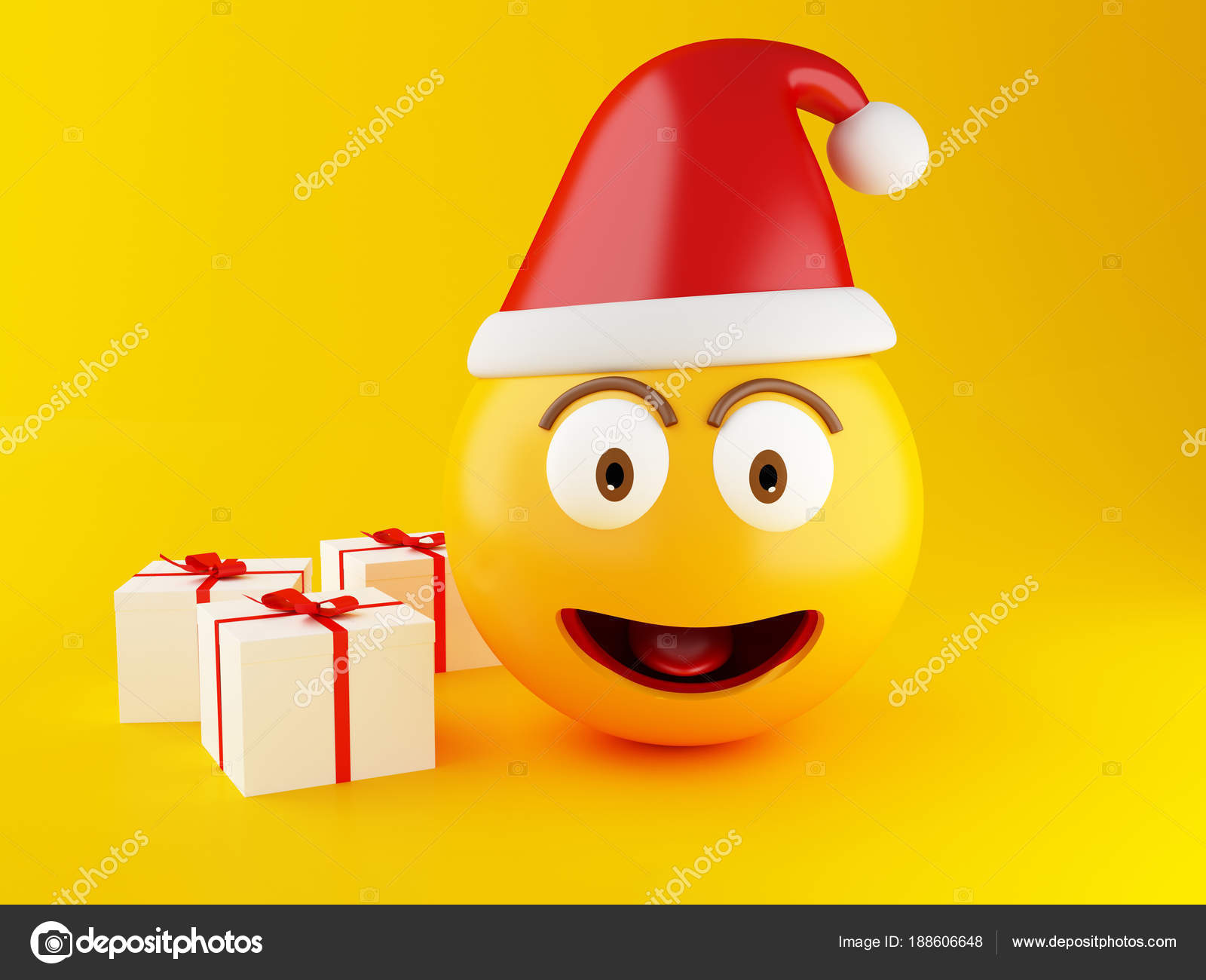 Christmas Emoji.3d Christmas Emoji With Gift Box Stock Photo