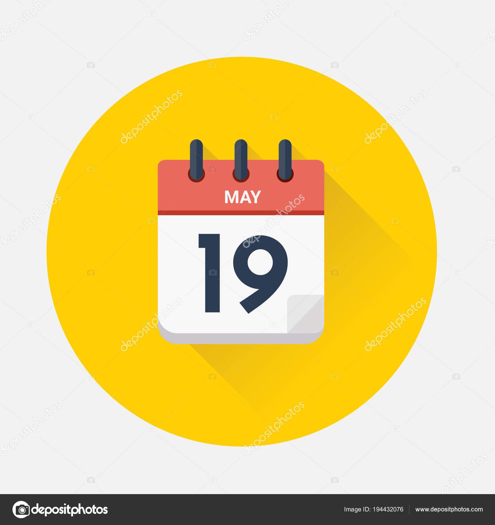 Vector de calendario día con fecha 19 de mayo de 2018 — Vector de stock bc4d1e93f2025