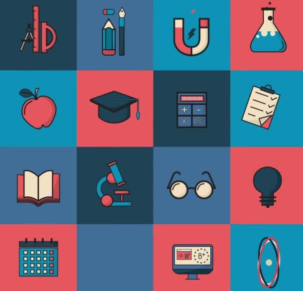 Vzdělání a ikony nápadů. Vzdělávací koncept. Animace videa 4k.