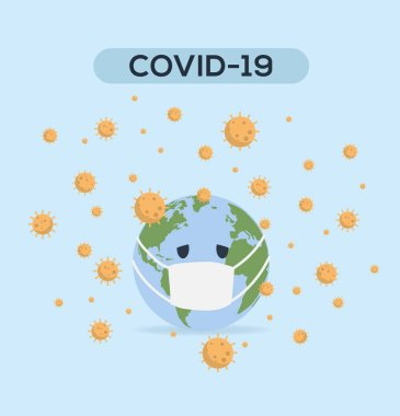 Vector Illustration. Planet Earth wearing a protective mask to protect against pandemic. Covid-19 outbreak concept. World medical concept.