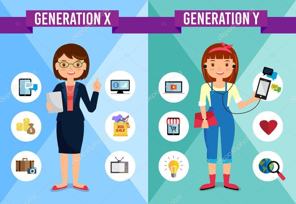 Génération X, génération Y - personnage de dessin animé
