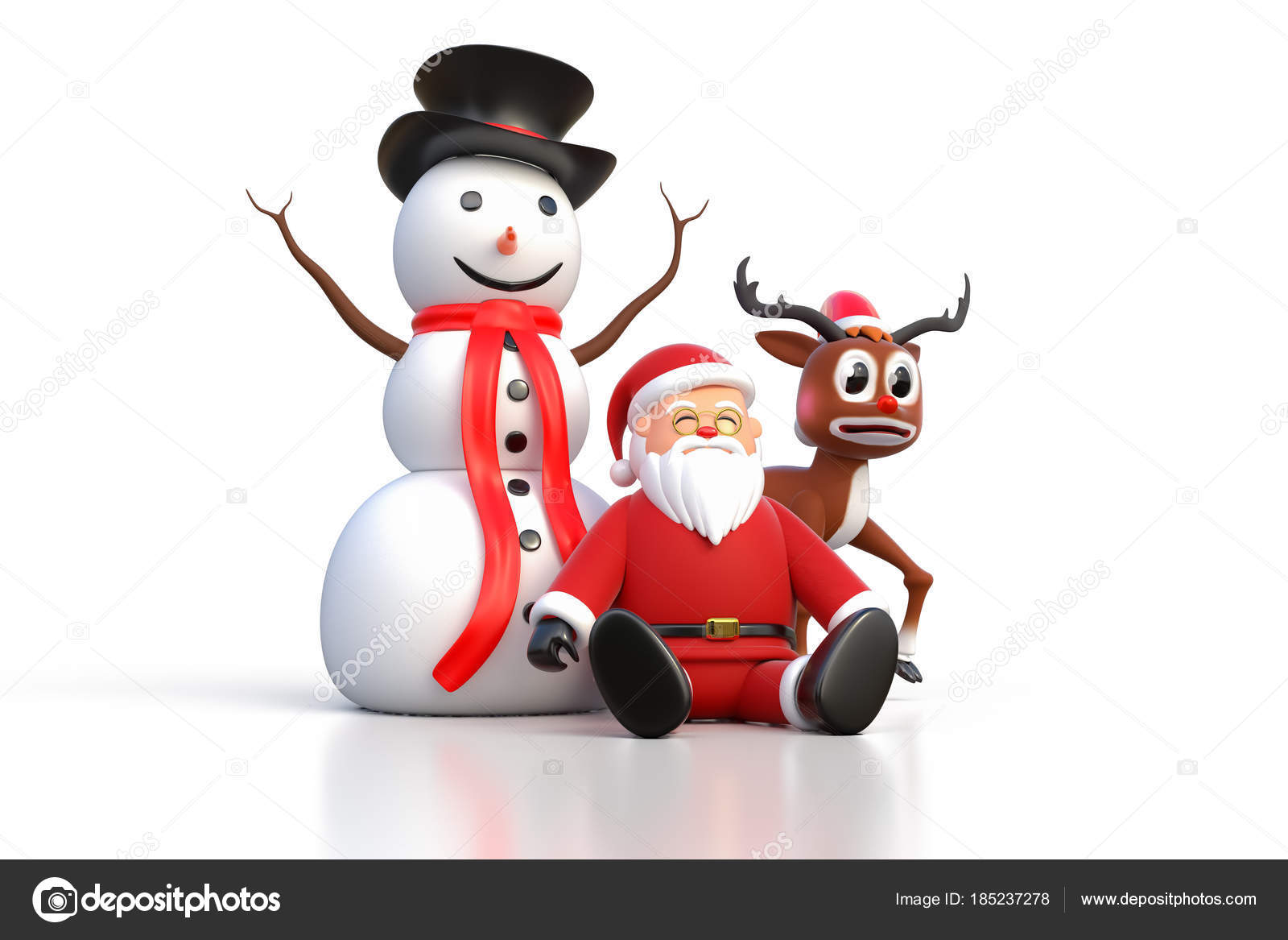 d348b6eb77c5b 3D rendering of Santa Claus sitting on a ground with Snowman and Reindeer  isolated on white background.