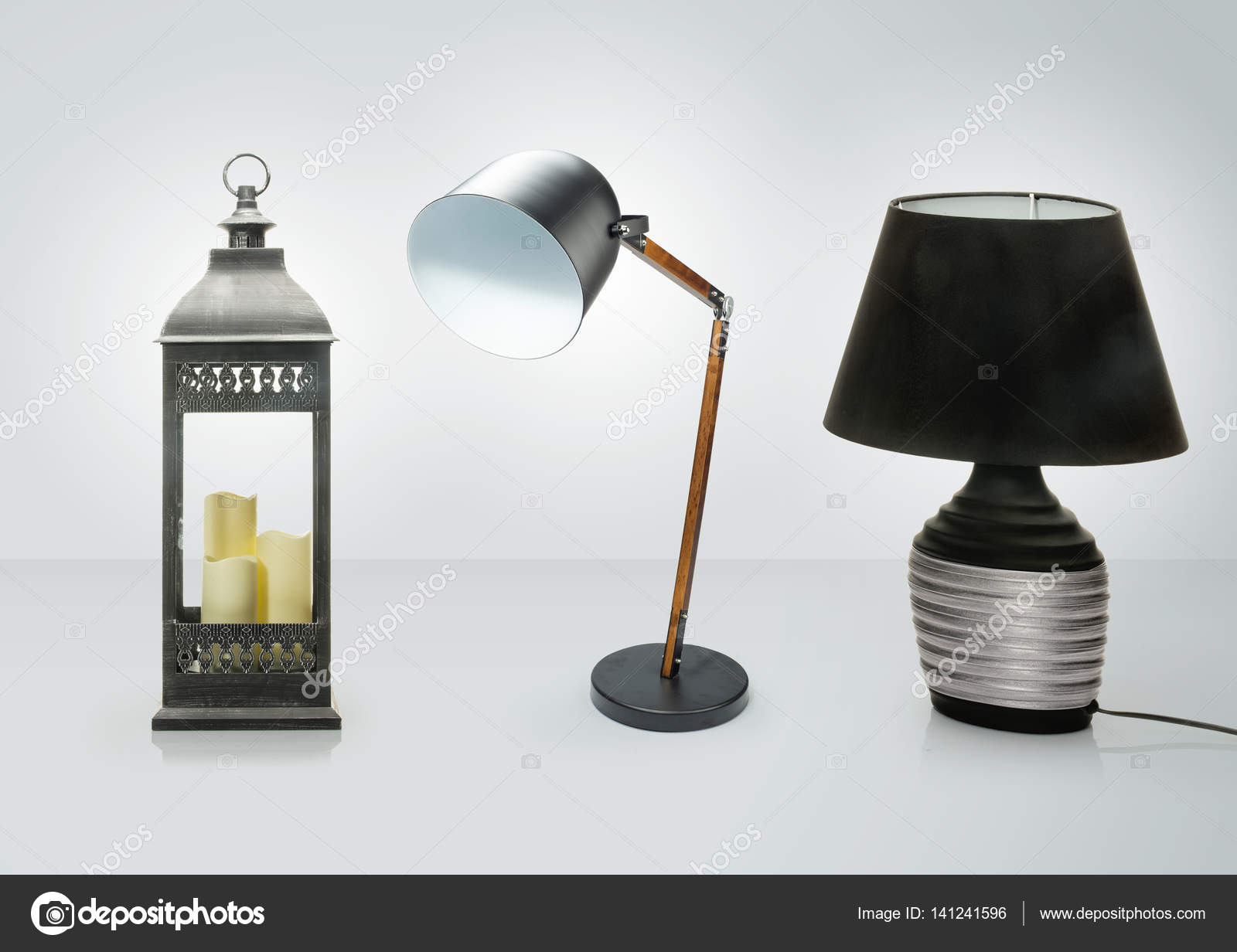 Set Of Different Table Lamps . Decorative Desk Lamps Isolated On White  Background , Clipping Path