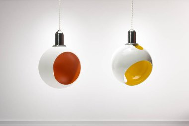 Two colourful modern pendant lights isolated, clipping path include