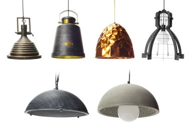 Collection of pendants isolated on white, Set of Pendant light lamps isolate