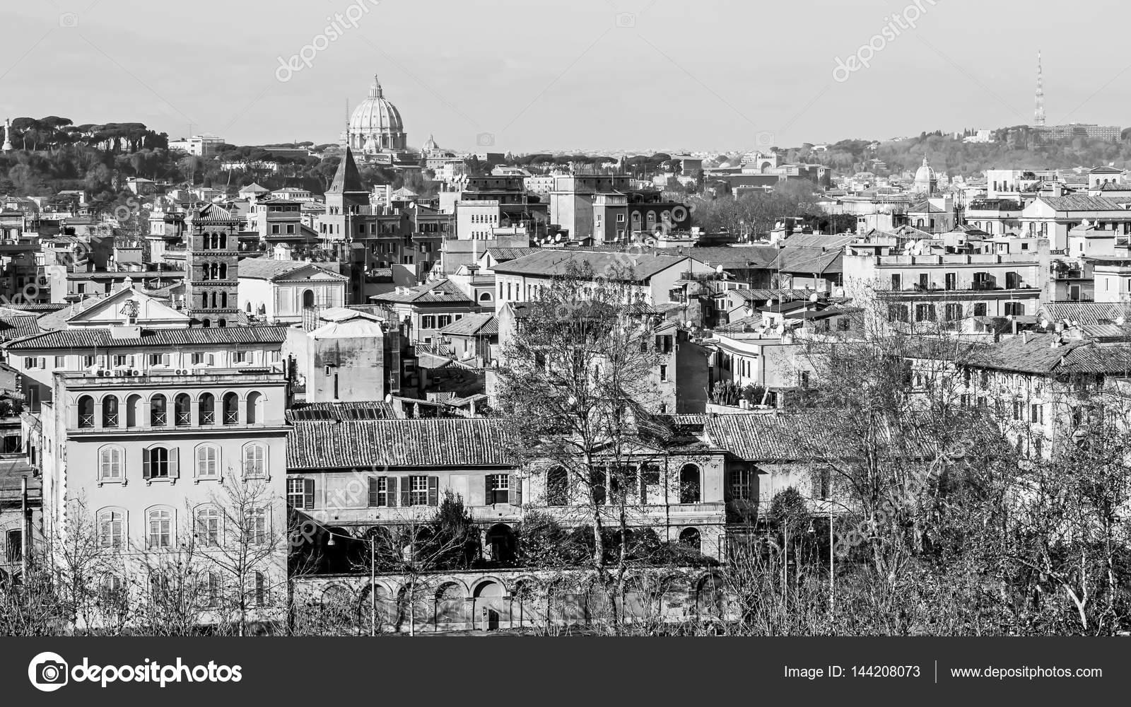 Paysage Urbain De Rome En Noir Et Blanc Photographie