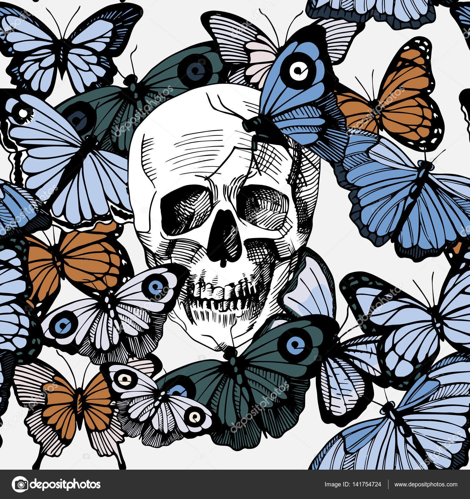 Cráneo con mariposas — Vector de stock © istryistry #141754724