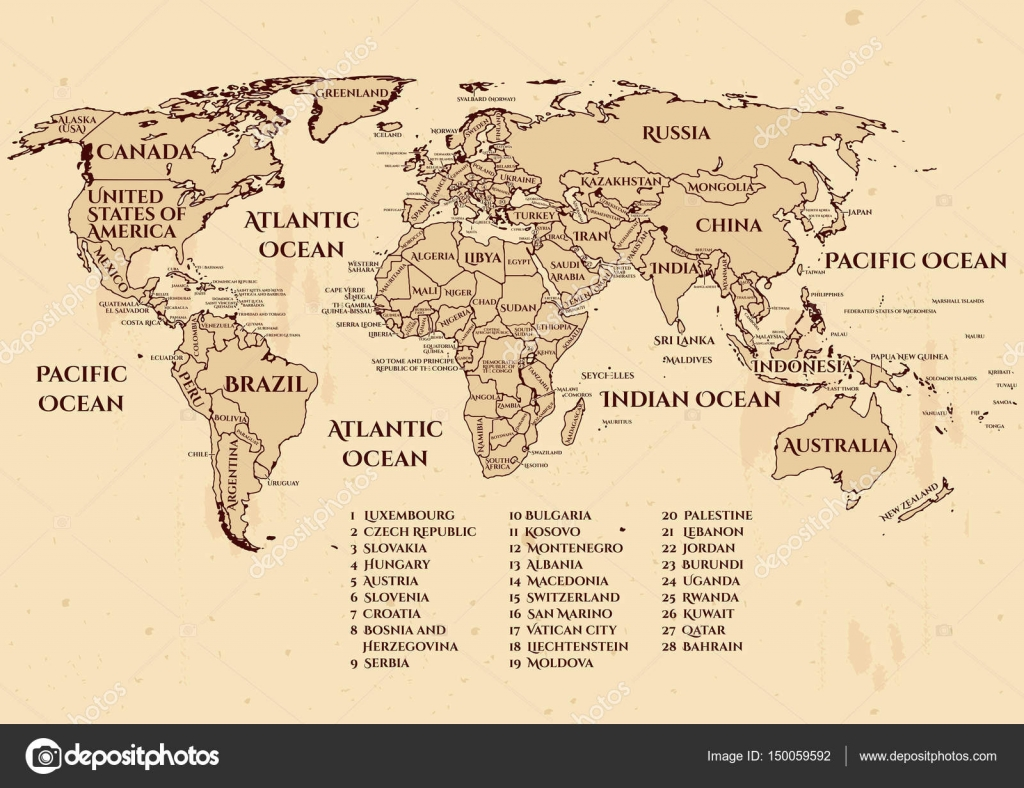 Vector whole world political map stock vector istryistry vector world political map with al official countries on 2017 year vintage grunge nautical style recommended size for printing a3 and larger high gumiabroncs Choice Image