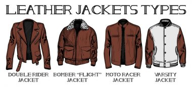 Vector illustration set of leather jackets main types: double rider, bomber or flight, moto racer and varsity jackets. Hand drawn style. stock vector