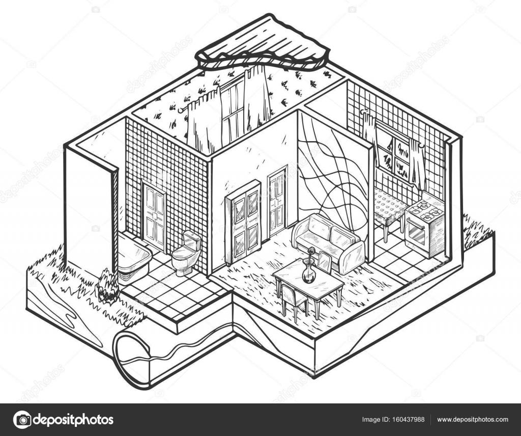Haus Innen Handgezeichnete Abbildung Architektur Stockvektor
