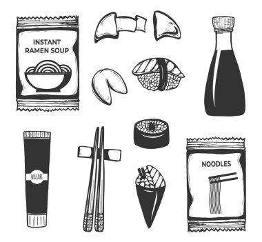 Vector illustration of Japanese, Korean, Chinese Asian oriental food icons set. Instant ramen soup noodles, wasabi, chopsticks, sushi roll, fortune cookie, soy sauce. Vintage hand drawn style. icon