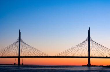 Cable-stayed bridge across the river Neva, Saint Petersburg, Russia,