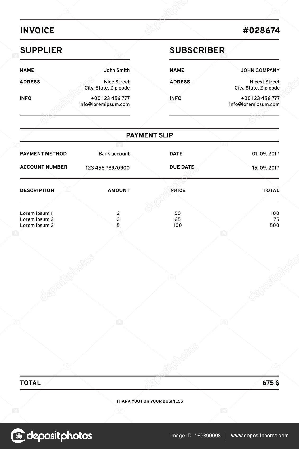 blank invoice stock vector image payslip sample uk sample status