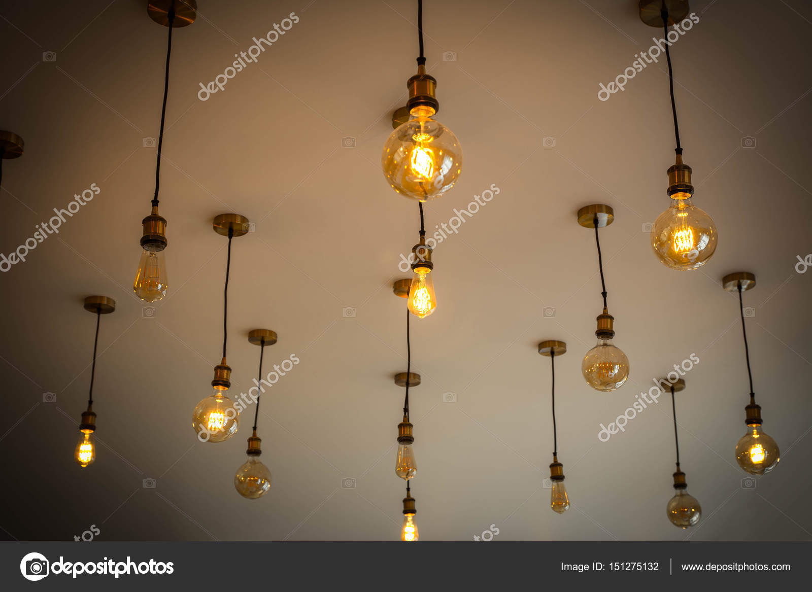 Decorative Antique Light Bulbs Against, White Wall, Interesting Decorative  Idea For Kitchen Or Cafe. U2014 Photo By Vitsat367