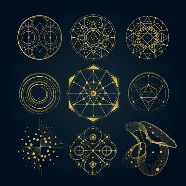 Sacred geometry forms, shapes of lines, logo, sign, symbol. stock vector