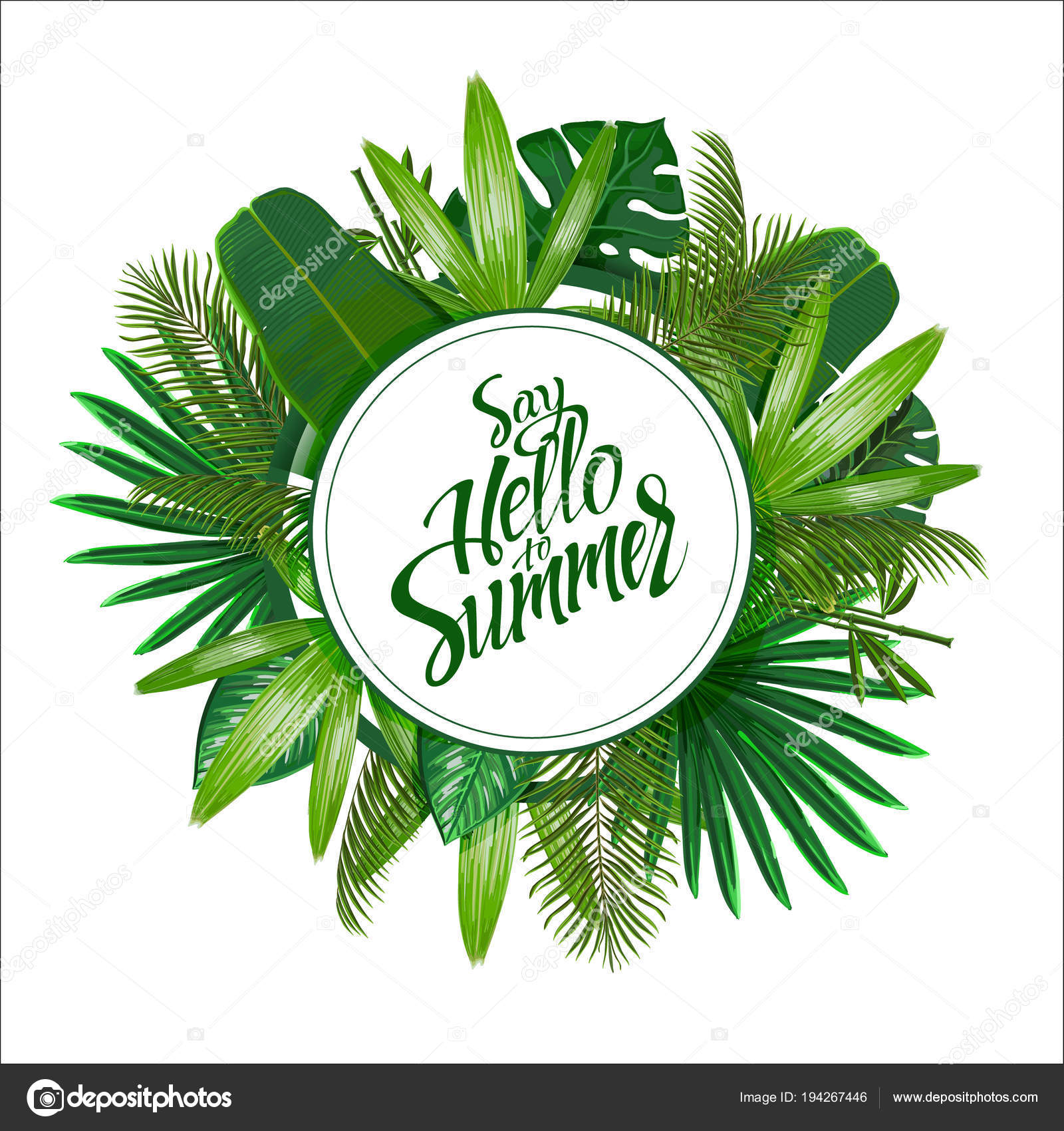 Tropical Leaves Circle White Background Isolated Sign Say Hello Summer Stock Vector C Deedman 194267446 Sign up to keep in touch! https depositphotos com 194267446 stock illustration tropical leaves circle white background html