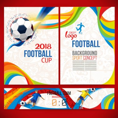 Football cup. 2018 World championship. Background concept of player with football ball around of Russian ethnic symbols. Champion football game. Symbol sport cup.
