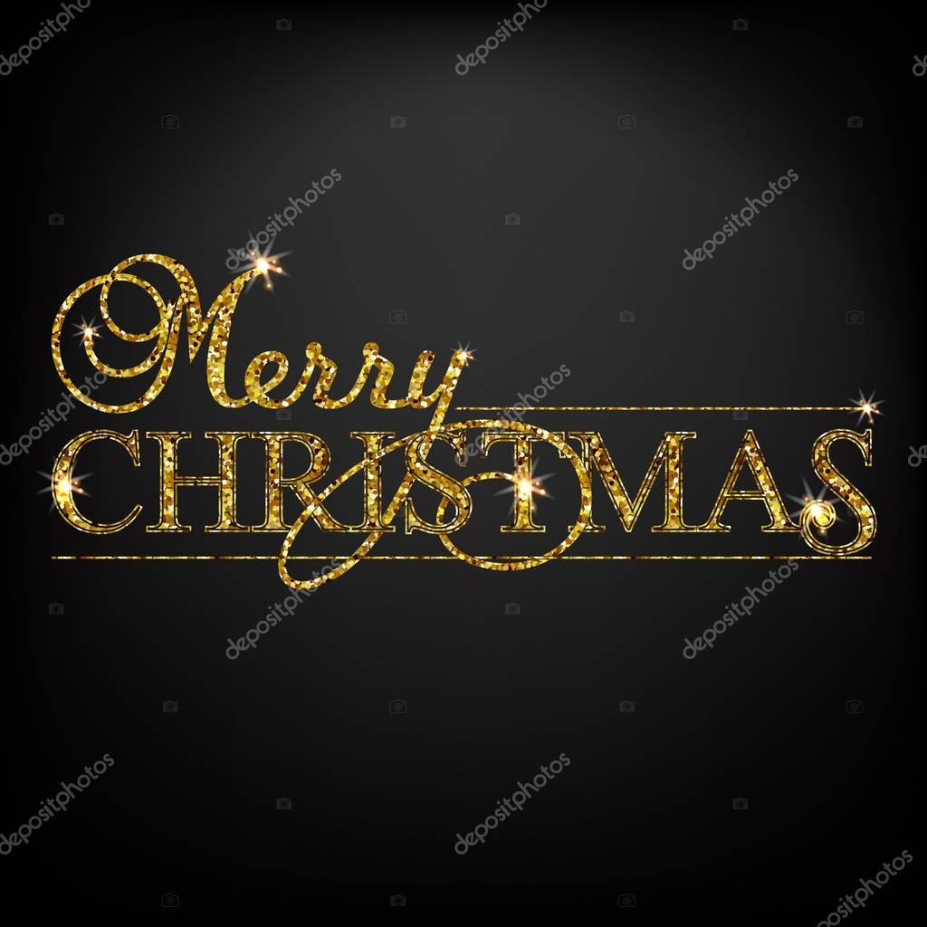 Goldglitter Merry Christmas Schriftzug Design Nachricht ...