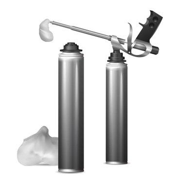 Mock Up template bottle pu foam for design. Vector  illustration