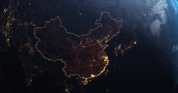 Planet Earth from Space, Peoples Republic of China highlighted state borders and counties animation, city lights, 3d illustration