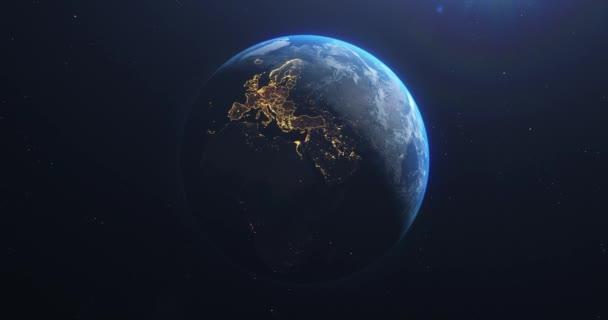 Planet Erde aus dem Weltraum EU Europäische Länder hervorgehoben, Landesgrenzen und Landkreise Animation, Stadtbeleuchtung, 3D-Illustration