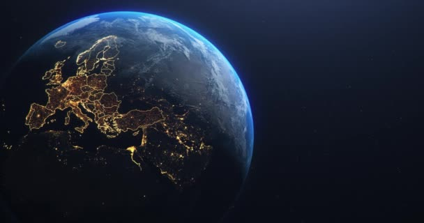 Planeta Země z vesmíru Zvýrazněné evropské země EU, státní hranice a kraje animace, světla měst, 3D ilustrace