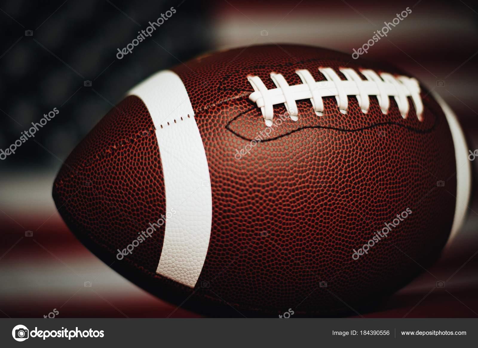 american football ball closeup view stock photo