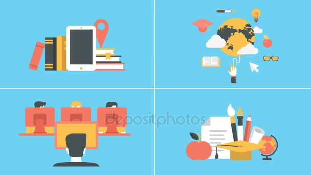 Education and e-learning animated concepts