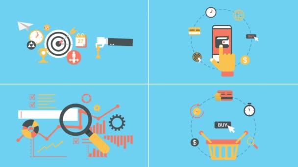 Marketing- és bevásárló animált lapos ikonok beállítása