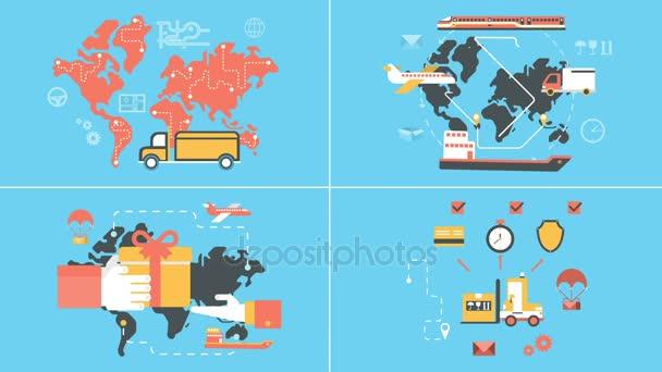 Logistika a rozvoz animovaný ploché ikony nastavit