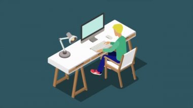 Architect designer artist writer copywriter workplace flat 3d isometric concept 4K video. Animated young man sitting at desk with computer reveal animation.